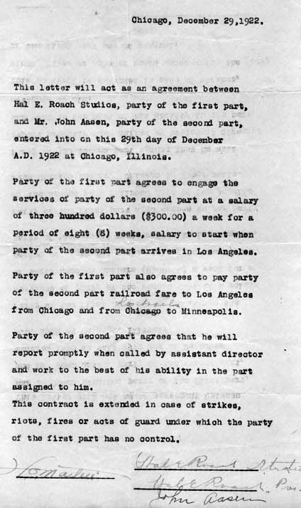 Johan's contract with Hal Roach